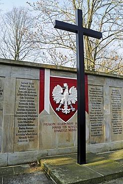 War memorial, cross, Jewish cemetery, foreigners cemetery, Hauptfriedhof main cemetary, Dortmund, Ruhrgebiet region, North Rhine-Westphalia, Germany, Europe