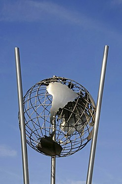 Globe, sculpture, Innenhafen, Inner Harbor, Duisburg, Ruhr area, North Rhine-Westphalia, Germany, Europe