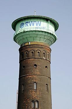 Historic watertower, RWW Rheinisch-westfaelische Wasserwerksgesellschaft waterworks company, Oberhausen, Ruhrgebiet area, North Rhine-Westphalia, Germany, Europe