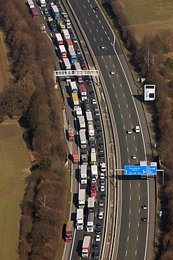 Aerial view, Autobahn A1 motorway, traffic jam with trucks, road works, Holzwickede, North Rhine-Westphalia, Germany, Europe