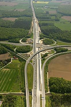 Aerial view, motorway intersection, A43 motorway, B51 motorway, Muensterland region, North Rhine-Westphalia, Germany, Europe