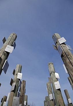 Posts with name tags of Jewish prisoners, memorial at Hessental Concentration Camp, Schwaebisch Hall, Baden-Wuerttemberg, Germany, Europe