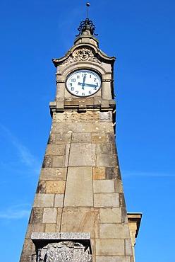 Water gauge, Art Nouveau tower on the bank of the Rhine, the Rhine Promenade, old town, Duesseldorf, North Rhine-Westphalia, Germany, Europe