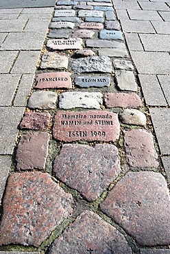 Spur II, installation, cobblestones with names reminiscent of people who have died of AIDS, part of the project Denkraum, thinking space, stones and names from the German AIDS Foundation, inner city Essen, North Rhine-Westphalia, Germany, Europe