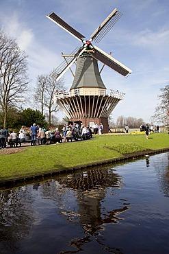 Windmill in the Keukenhof flower garden, Lisse, Netherlands, Europe