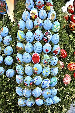 Easter eggs on an easter fountain, Schechingen, Baden-Wuerttemberg, Germany, Europe