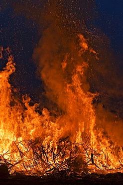 Easter bonfire, Versmold, North Rhine-Westphalia, Germany, Europe