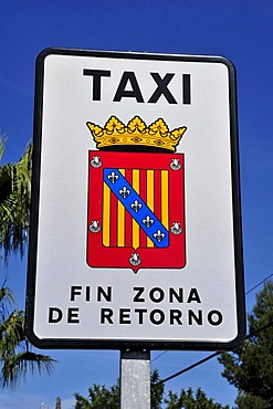 Sign at the end of the taxi zone in the mountain village of Polop de la Marina, Costa Blanca, Spain, Europe