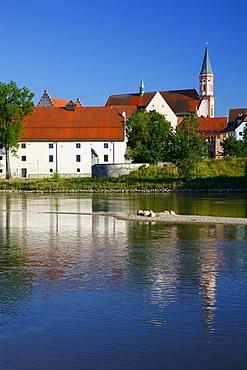 Herzogschloss Castle and Karmelitenkirche, Carmelite Church, Danube River, Straubing, Lower Bavaria, Germany, Europe