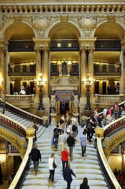 Interior, tourists on the rococo marble staircase, foyer, Opera Palais Garnier opera, Paris, France, Europe