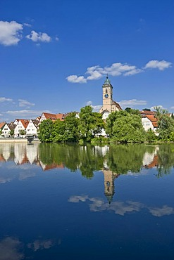 Cityscape with the Neckar River and the Town Church of Saint Lawrence, Nuertingen, Swabian Alb, Baden-Wuerttemberg, Germany, Europe