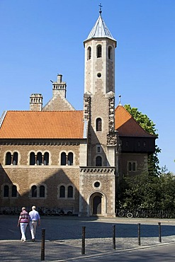 View of the tower of the restored Burg Dankwarderode castle in Braunschweig, Lower Saxony, Germany, Europe