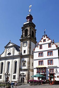 Maria Himmelfahrt or Assumption of Mary church, marketplace of Hachenburg, Westerwald, Rhineland-Palatinate, Germany, Europe