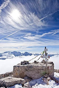 Ascent of Piz Boe Mountain on the Piazzetta Climbing Route with Marmolada Mountain in the distance, Dolomites, Alto Adige, Italy, Europe