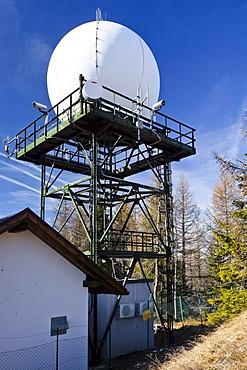 Precipitation Radar Station on Gantkofel Mountain, Mendel Ridge, Alto Adige, Italy, Europe
