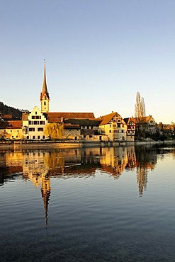 View over the Rhine to the monastery of St. George in the old town of Stein am Rhein, Canton Schaffhausen, Switzerland, Europe