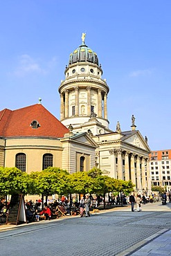 French Church of Friedrichstadt, French Cathedral and a beer garden on Gendarmenmarkt square in Berlin, Germany, Europe