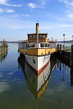 """Old paddle steamer """"Ludwig Fessler"""", built in 1926, anchoring in the harbor of Stock near Prien, Bavaria, Germany, Europe"""