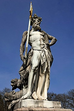 Sculpture of Hades, with Cerberus or Kerberos at his feet, Schloss Nymphenburg Palace, Schlossrondell, Munich, Bavaria, Germany, Europe