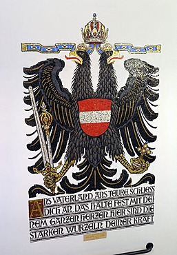 Austrian double eagle, wall painting, German National Library, Leipzig, Saxony, Germany, Europe