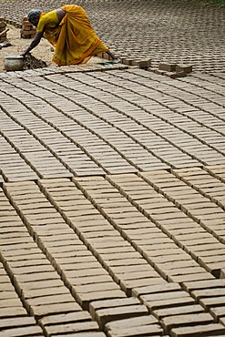 Making clay bricks, Neloor Maravappalayam, near Karur, Tamil Nadu, India, Asia