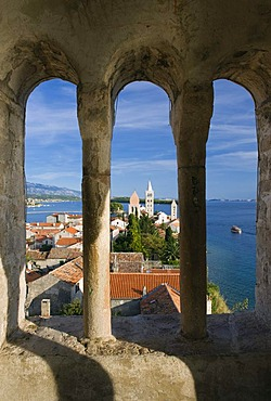 Bell towers of the churches of St. Justin, St. Mary and the St. Andrew's monastery, Rab, Rab island, Kvarner Gulf, Croatia, Europe