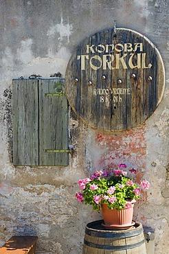 Inn sign, Konoba wine cellar, Primosten, Dalmatia, Croatia, Europe