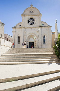 West facade of the Cathedral of Sveti Jakov, Cathedral of St. James, Cathedral square, Sibenik, Dalmatia, Croatia, Europe