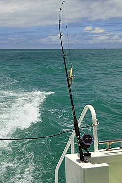 Fishing lure and rod on a boat, Shark Bay, Western Australia