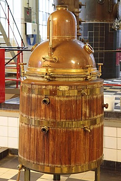 Old boiler or tank for the production of alcohol, Aalborg Akvavit spirits factory, Aalborg, North Jutland, Denmark, Europe