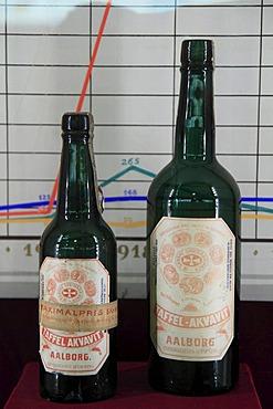 Old Akvavit bottles, Aalborg Akvavit spirits factory, Aalborg, North Jutland, Denmark, Europe