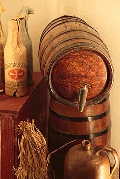 Barrels, can and Akvavit bottles wrapped in paper, Aalborg Akvavit spirits factory, Aalborg, North Jutland, Denmark, Europe