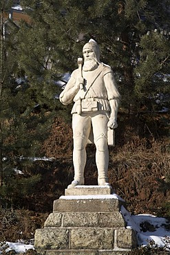 "Statue of a miner, Huthaus ""St. Lampertus"", Hohenstein-Ernstthal, Saxony, Germany, Europe"
