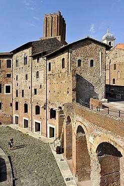 Tabernae or single room shops in the ancient street of Via Biberatica at Trajan's Market, in front of the Torre delle Milizie, Militia Tower, Via Alessandrina, Via dei Fori Imperiali, Rome, Lazio, Italy, Europe