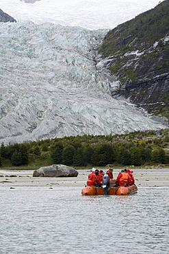 Tourists on a boat, Pia Glacier, Beagle Channel, Darwin National Park, Tierra del Fuego, Patagonia, Chile, South America
