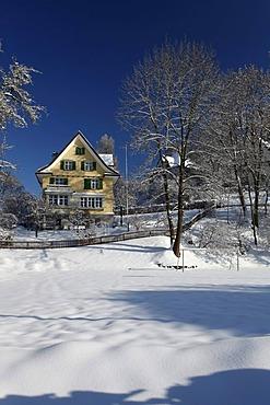 Snow at St. Georgen, St. Gallen, Switzerland, Europe
