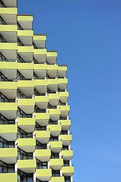 Old high-rise building in Pelzerhaken, Bay of Luebeck, Baltic Sea, Schleswig-Holstein, Germany, Europe