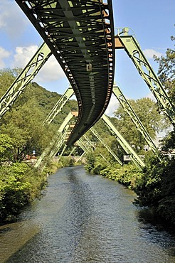 Supporting system, Wuppertal Floating Tram suspended monorail, Wuppertal, Bergisches Land region, North Rhine-Westphalia, Germany, Europe