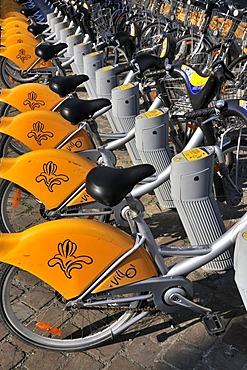 Villo rental bikes at the Midi train station, Brussels, Belgium, Europe