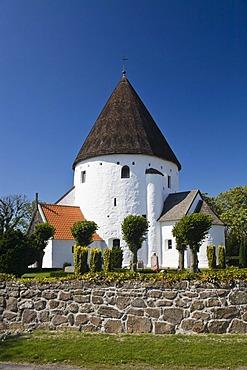 Round church Sankt Ols Kirke near Olsker, Bornholm, Denmark, Europe