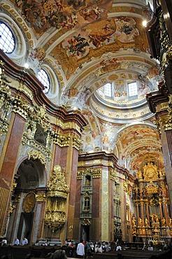 Monastery church of Melk Abbey or Stift Melk, UNESCO World Heritage Site, Lower Austria, Austria, Europe
