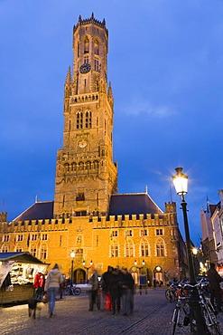 The Belfry, Grote Markt market square, old town, UNESCO World Heritage Site, Bruges, Brugge, West Flanders, Flemish Region, Belgium, Europe