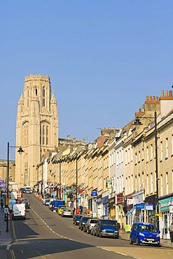 Park Street with The Wills Memorial Building, Wills Memorial Tower, uniformly stepped hillside terracing, Bristol, Gloucestershire, England, United Kingdom, Europe