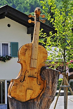 Memorial to violin maker Matthias Klotz, Mittenwald, Bavaria, Germany, Europe