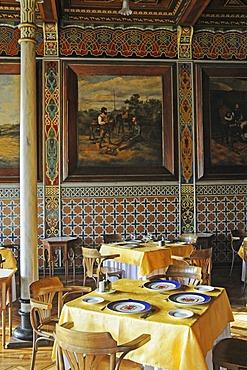 Set tables, Club Espanol, Casino, Spanish Club, restaurant, historic building, Spanish tiles, Moorish style, Plaza Arturo Prat square, Iquique, Norte Grande, Northern Chile, Chile, South America