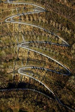 Aerial view, serpentine, Tetraederweg path up the heap, Batenbrock, Bottrop, Ruhrgebiet region, North Rhine-Westphalia, Germany, Europe