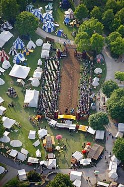 Aerial view, historical market with tournaments in the park of Schloss Broich castle, Muelheim an der Ruhr, Ruhrgebiet region, North Rhine-Westphalia, Germany, Europe - 832-98749