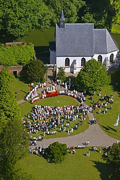 Aerial picture, open air church service on the occasion of the Feast of Corpus Christi, Herten palace gardens, Herten moated castle, Barockpark gardens, Herten, Ruhr Area, North Rhine-Westphalia, Germany, Europe - 832-98795