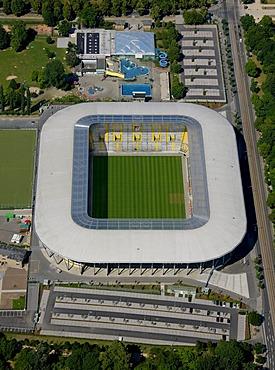 Aerial view, Rudolf-Habig-Stadion stadium, Dresden, Saxony, Germany, Europe