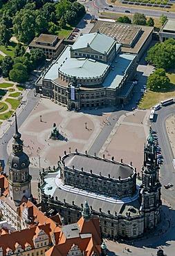 Aerial view, Semperoper opera house, Hofkirche church, Dresden, Saxony, Germany, Europe